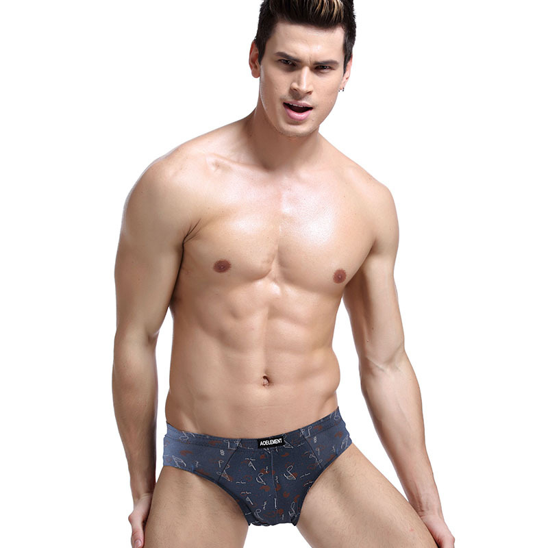 Men's Triangle Breathable Underwear Classic Pattern Cotton Comfortable Breathable Mid-Waist Men's Underwear Men's Sexy Underwear
