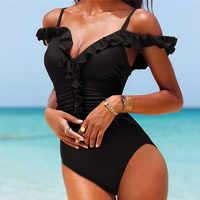 Traje de baño de una pieza Monokini Maio Biquini Traje de baño para Mujer Trikini Badpak Bikini Maillot 2019