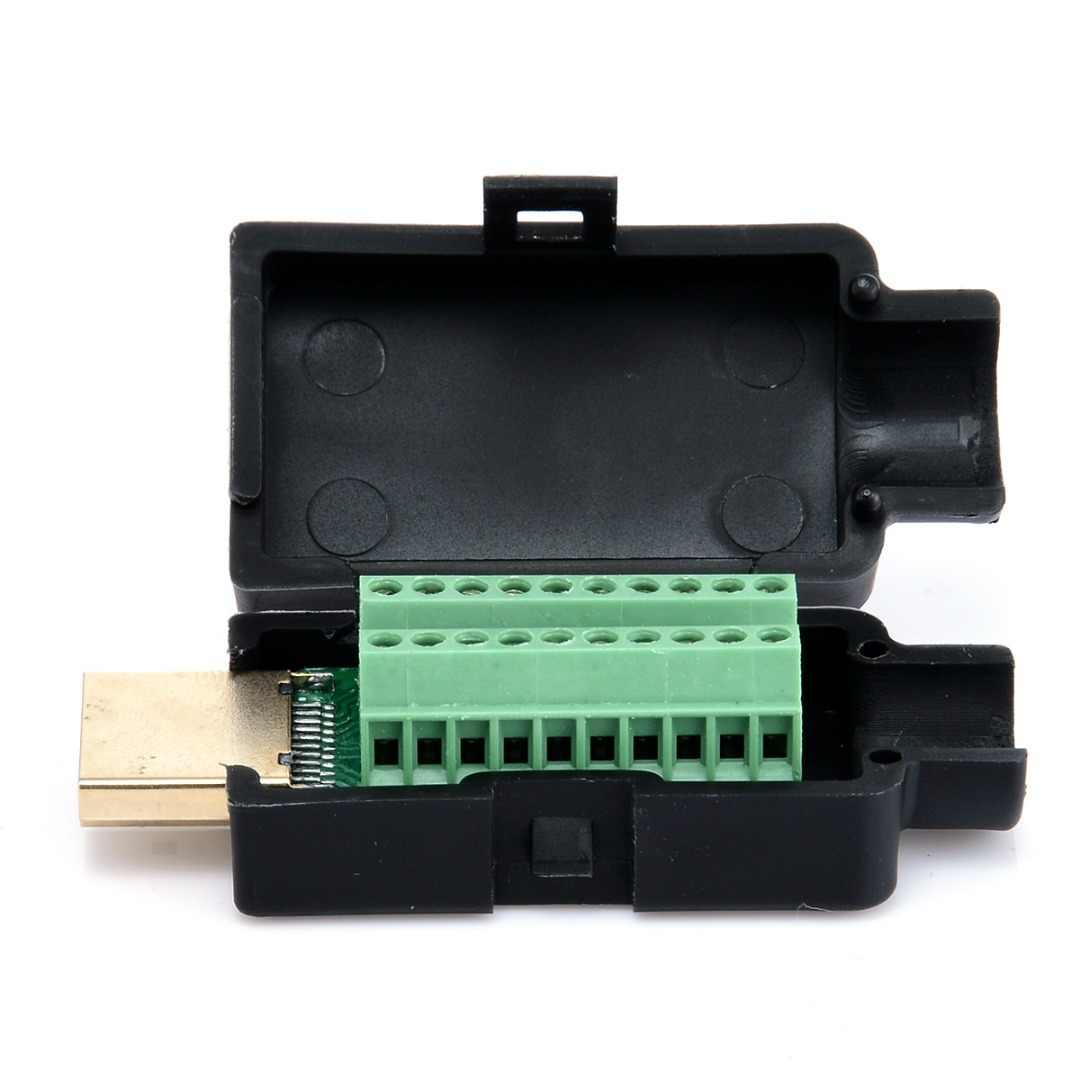 新 Hdmi オスプラグ端子コネクタと黒プラスチックカバー男性 19P プラグブレークアウト基板端子圧着コネクタ