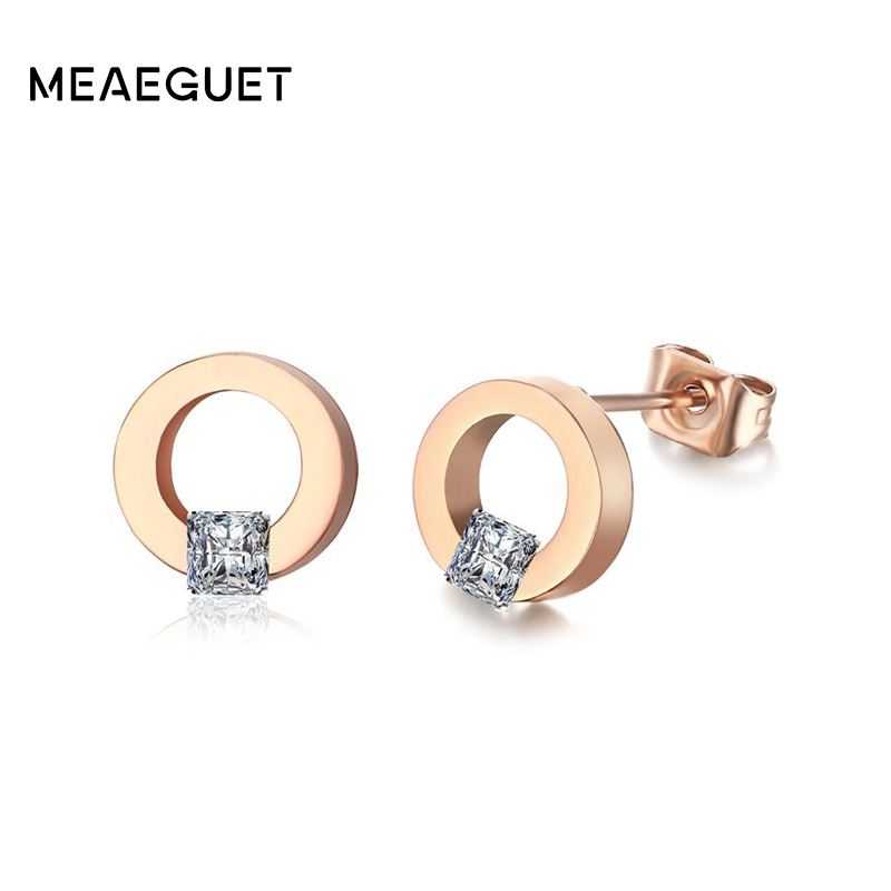 Meaeguet Cubic Zirconia Geometric Design Round Circle Stud Earrings For Woman Rose Gold Color Jewelry gold big circle geometric statement stud earrings