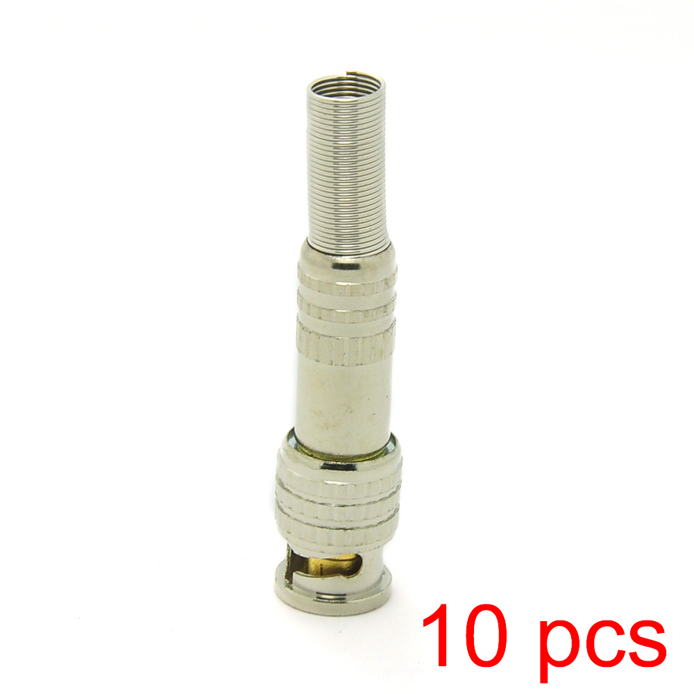 10x Solderless BNC Male Connector Plug To RG59 Coax Cable Coupler CCTV Adapter