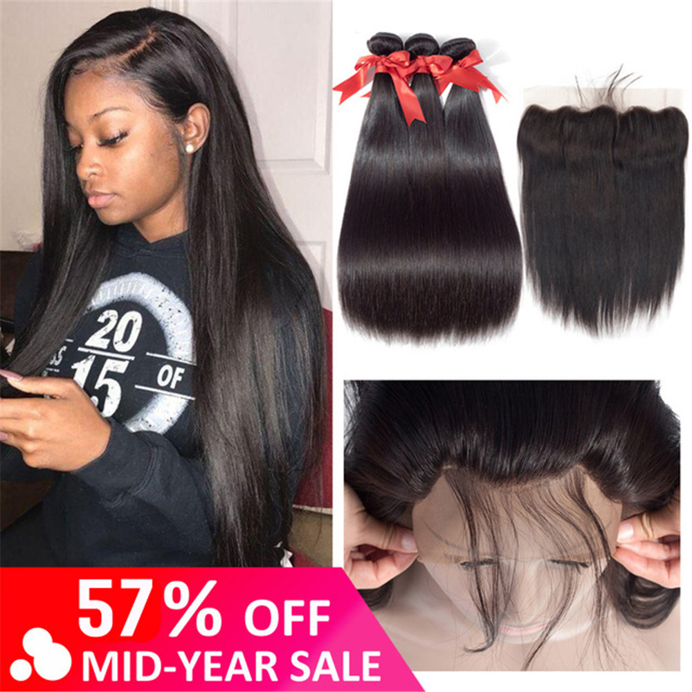 Beaudiva Brazilian Straight Hair Weave Bundles With Frontal Closure Lace Frontal With Bundles Human Hair Extension