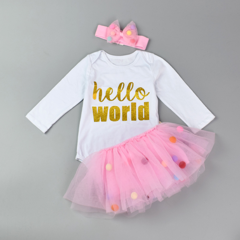 3Pcs Baby girls Clothing Set Long Sleeve Romper+Tutu Miniskirt Colorful Headband Newborn Girl Bodysuit Sets Cotton Jumpsuits 3pcs mini mermaid newborn baby girl clothes 2017 summer short sleeve cotton romper bodysuit sea maid bottom outfit clothing set