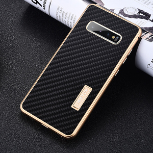 Image 1 - iMatch Real Carbon Fiber Aluminum Metal Case For Samsung Galaxy S10/ Plus Luxury Full Protection Back Cover For Samsung S10 Case