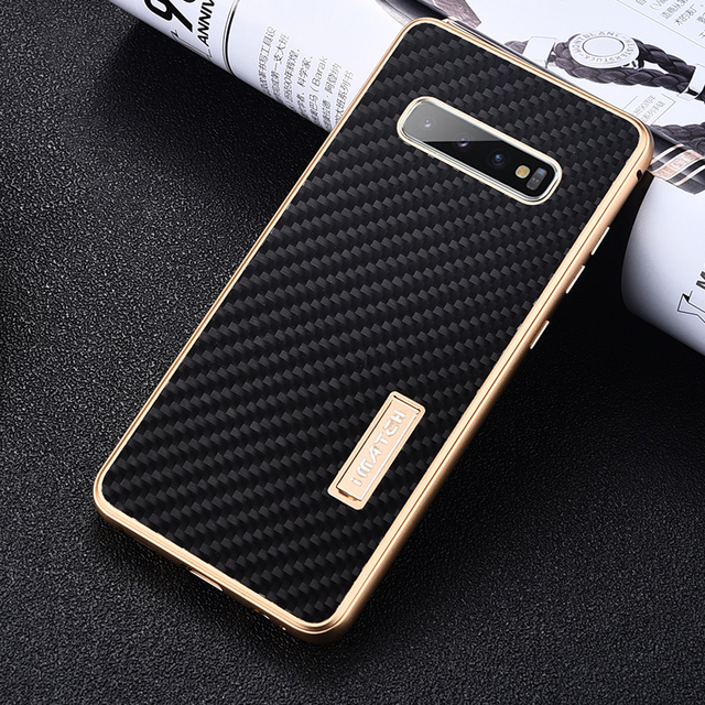 iMatch Real Carbon Fiber Aluminum Metal Case For Samsung Galaxy S10/ Plus Luxury Full Protection Back Cover For Samsung S10 Case