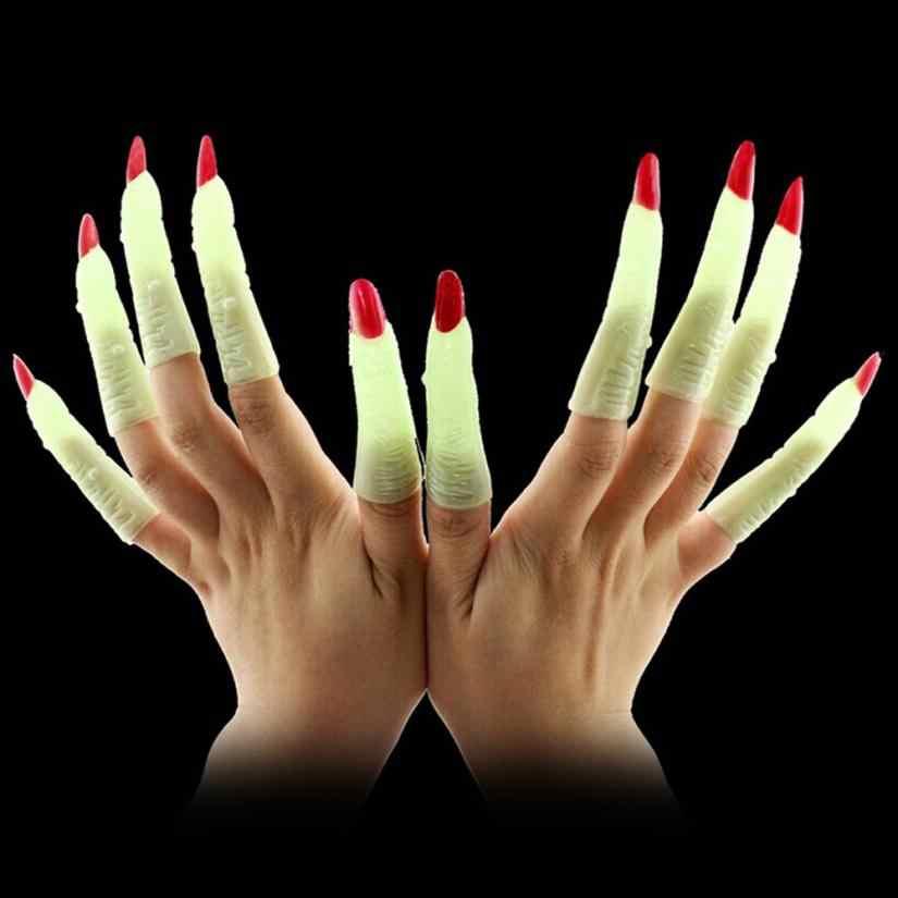 10 1xfake אצבעות מכשפה נייל סט כיסוי ליל כל הקדושים מפלגה נכס תחפושת קוספליי