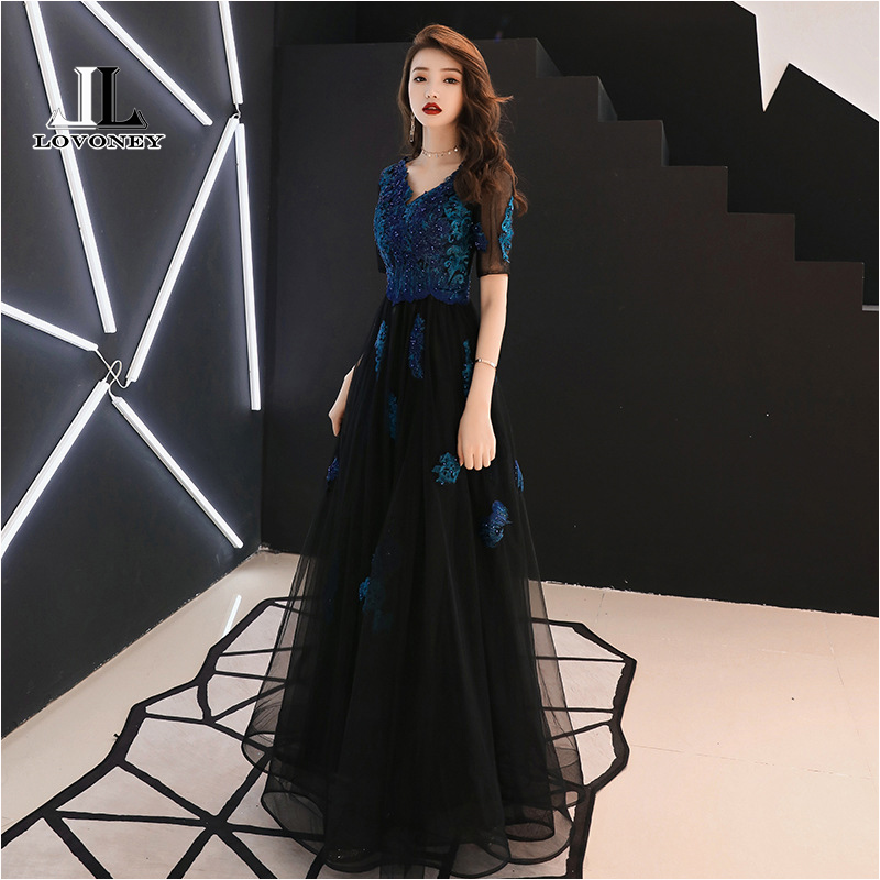 LOVONEY A Line V Neck Appliques   Evening     Dresses   Long 2019 Elegant Woman Occasion Party   Dresses   Formal   Evening   Gowns MXN101