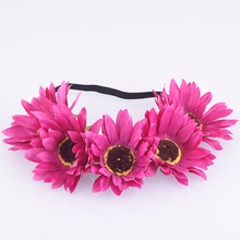CXADDITIONS Fabric Sunflower Flower Headband Headwrap Easter Crown Hair Accessories Bands Floral Wreath Wedding