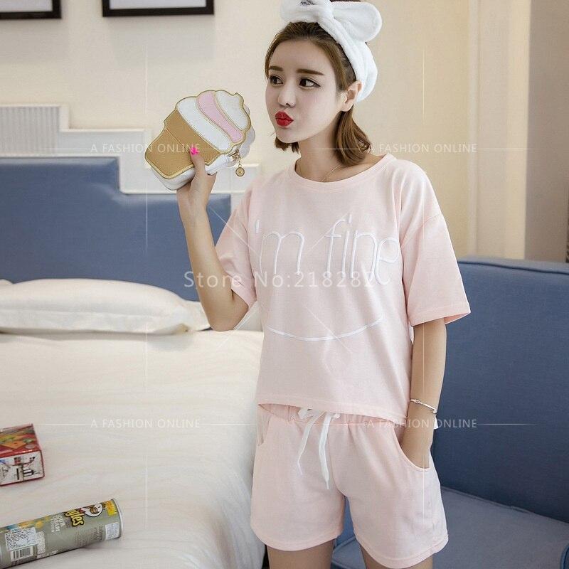 2016 New Summer Cotton Short Sleeved pajamas Female Pijamas Sets ... f30010b74
