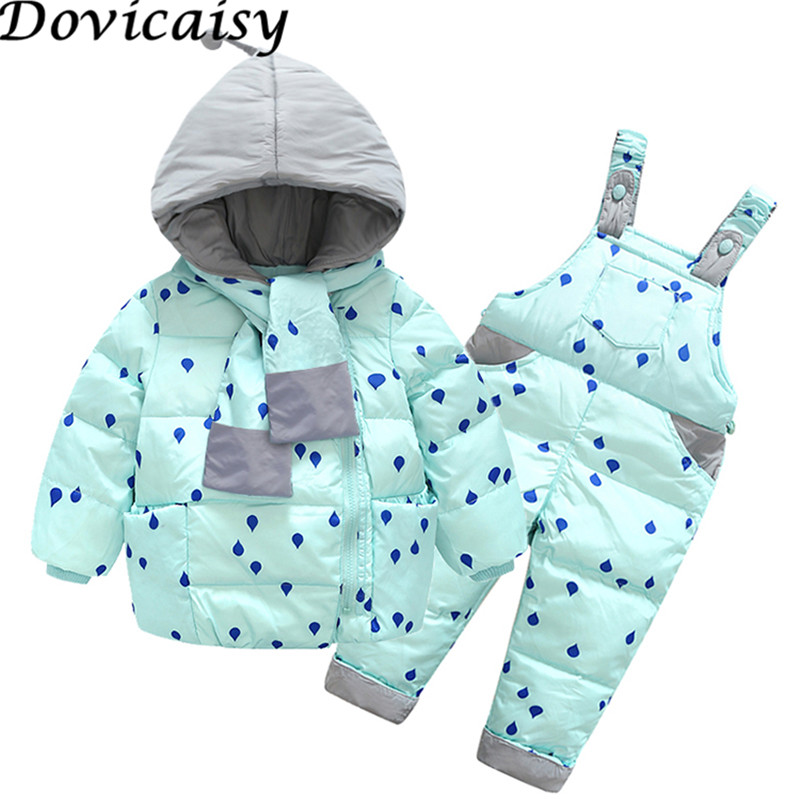 цена Girls Boys Down Coat Children Warm Snowsuit Outerwear + Romper Clothing Set Russian children's Winter jackets