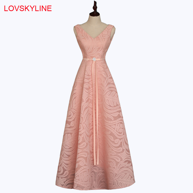 Bridesmaid     Dresses   Long 2018 New Lace V-Neck Sashes Embroidery Pink Off the Shoulder