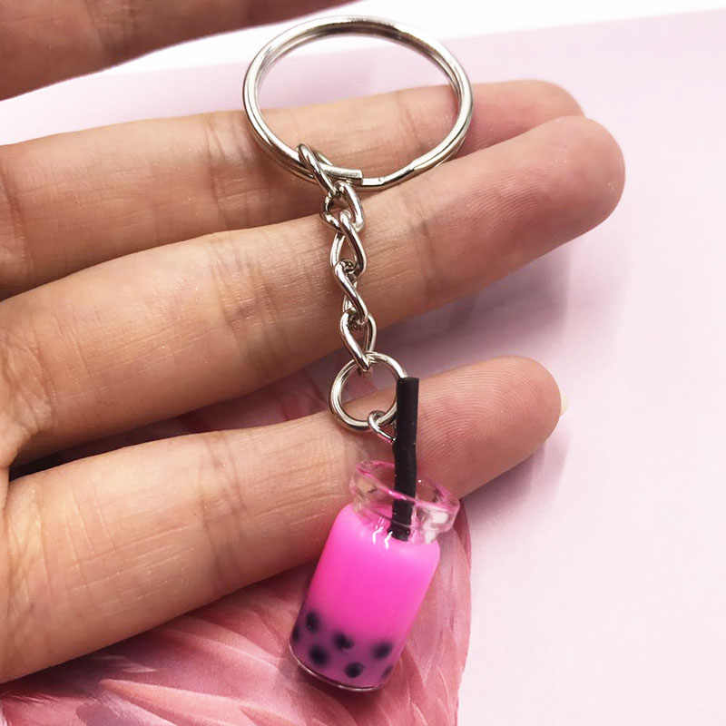 Creative Milk Tea Drink Soda Bottle Keychain Female Girl Cute Key Ring Jewelry Women Charm Bag Pendant Key Chains Accessory Gift