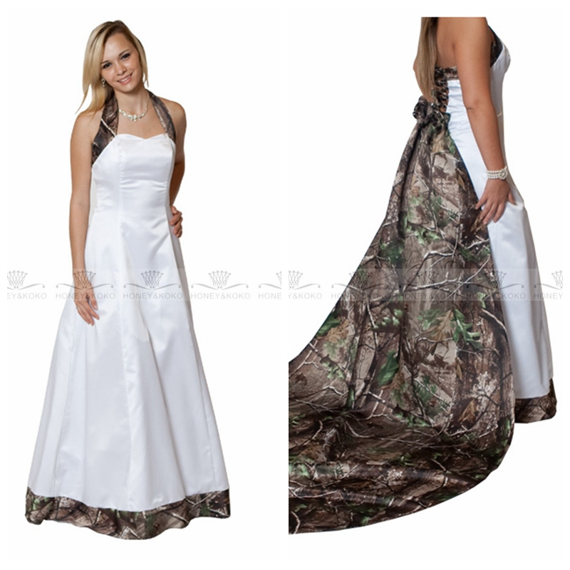 New Real Tree Camo Wedding Dresses Camouflage Lace-up Bridal Gowns CUSTOM