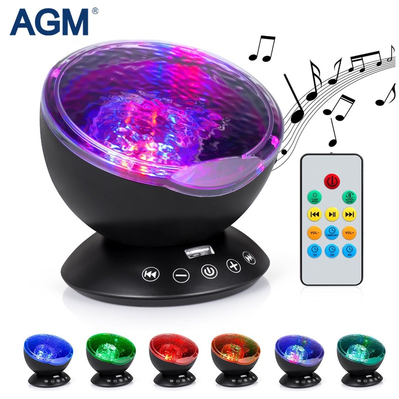 AGM LED Night Light Music Luminaria Starry Sky Aurora Projector Novelty Lights USB Lamp Nightlight Gift For Baby Children Decor color changing aurora star borealis indoor laser projector led starry sky night light lamp with speaker for party decor