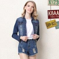 2018 Spring New European Wind Floral Embroidery Short Jackets Fashion Women Denim Jackets Female Casual Cowboy Coat