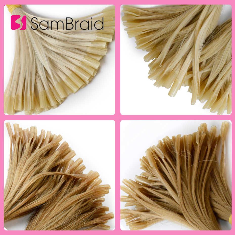 Sambraid прямо синтетические волосы 22 дюйма зажимы длинные прямые волосы, волосы в косичках Предварительно Связанные в пучки u-клипсой 100 шт./упак. сделано Реми волосы кроше для наращивания