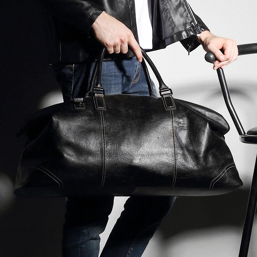 Fashion Genuine Leather Travel Bag Men's Leather Luggage Travel Bag Duffle Bag Large Tote Weekend Overnight Bag LI 1926 - 5
