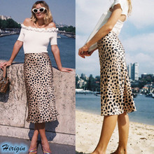 Summer Casual Skirts HOT Women Summer Casual Elastic High Waist Loose Leopard Print Midi Skirts Size S-XL kuppersberg bali 1b sand
