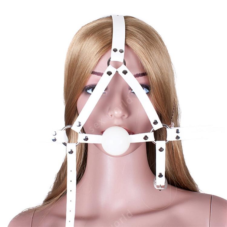 Adult-Bondage-PU Leather-Head Face Mask Restraint Bondage Gag Harness Strap Belt