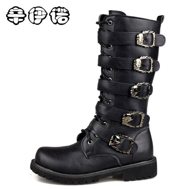 e6342c1c1b80 2018 Fashion Genuine Leather Military Uniform Boots Gothic Skull Punk  Martin Platform Mid-calf Boots Steampunk Shoes big size 45
