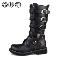 2018 Fashion Genuine Leather Military Uniform Boots Gothic Skull Punk Martin Platform Mid Calf Boots Steampunk