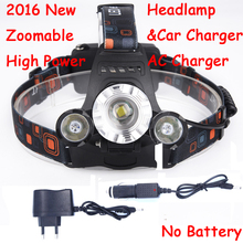 2016 New Zoomable 3 Leds 6000LM Head Lamp Spotlight CREE XML T6 + 2 XPE LED Headlamp Headlight Camping Light + AC & Car charger