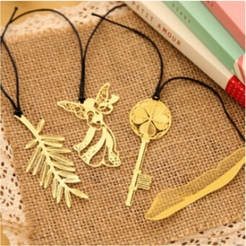 New Arrival Kawaii Fashion Gold Metal Bookmark Beautiful Queling Feather Key Bookmarks for Gifts Office Supply Student 444