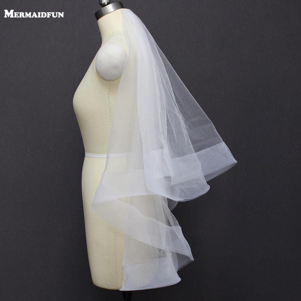 Bridal Veil Short Wedding-Accessories Face Horsehair-Edge Ivory White 2-Layer Real Photos