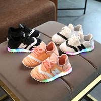 New 2018 Spring Autumn Mesh Light Baby Toddlers Lace Up LED Glowing Baby Sneakers Sports Running