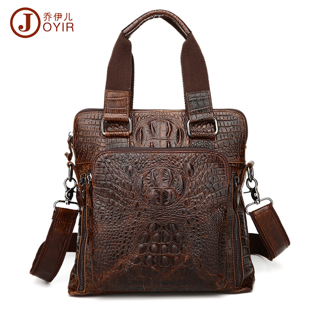 JOYIR Fashion genuine leather man Briefcase handbag cowhide leather alligator shaped crossbody bag business bag messenger bag wire man bag small light horizontal handbag business bag male fashion portable genuine leather briefcase