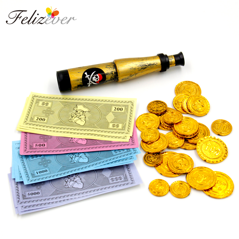 47PCS Pirate Theme Party soosib Pack Play Money Teemapidu Prop Plastic Gold Coins Mäng paber Kostüümide raha teleskoop