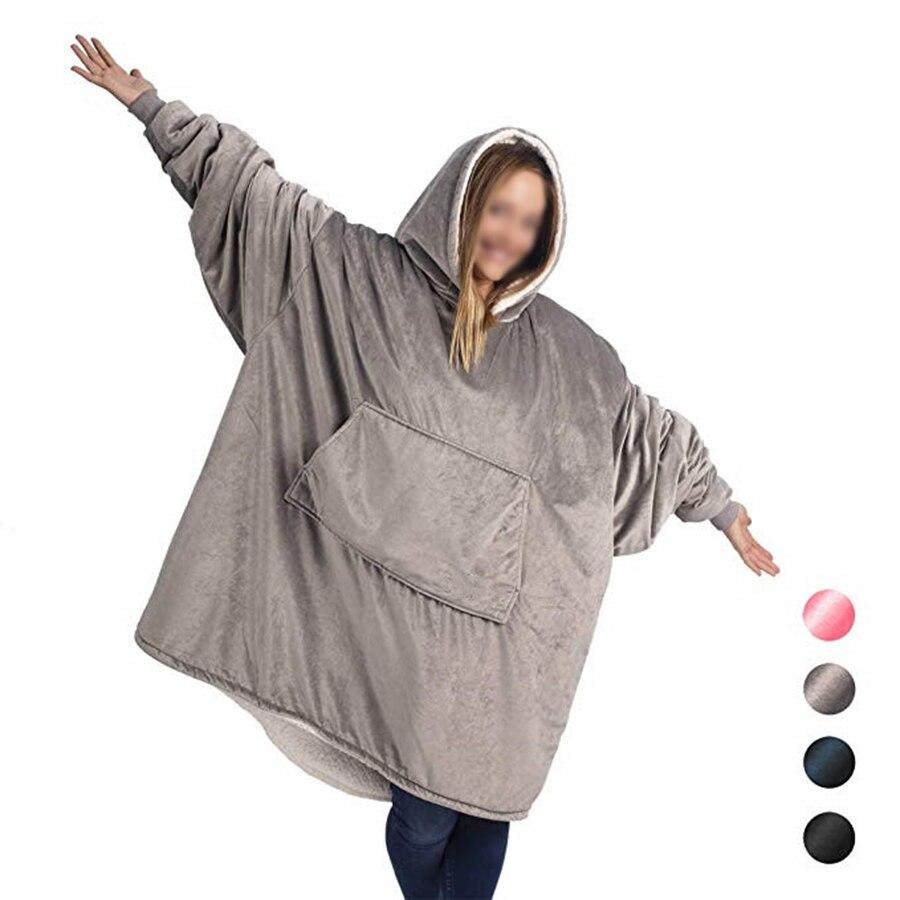 Comfy Hoodie Sweatshirt Blanket Shark Tank Warm Soft Reversible with HoodLarge Pocket One Size (3)