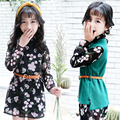Floral Elegant Dresses For Girls 4 5 6 7 8 9 10 11 12 13t  Teenagers Girls Fashion Princess Dress + Vest Without Belt Kids Dress
