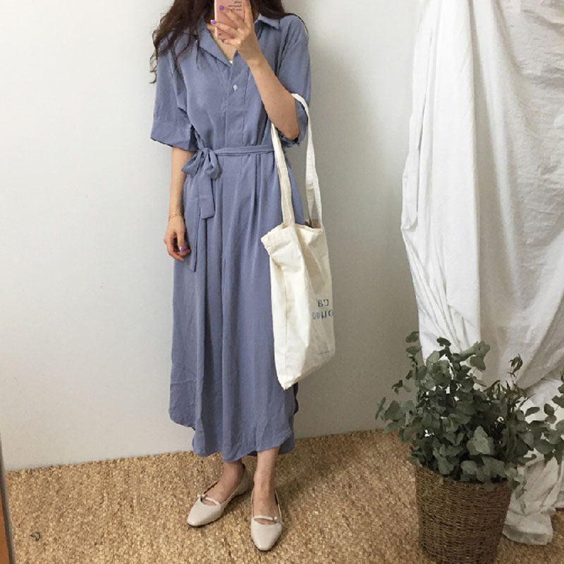 Vintage Summer Long shirt Dress Short Sleeve woman High Quality Casual turn down collar V Neck female Fashion maxi Dress loose