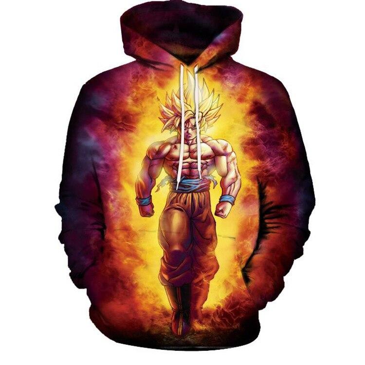 Anime 3D Hooded Sweatshirt Men Dragon Ball Z Super Saiyan Printed Mens Hoodies and Sweatshirts Hip Hop Style Casual Sweat Homme