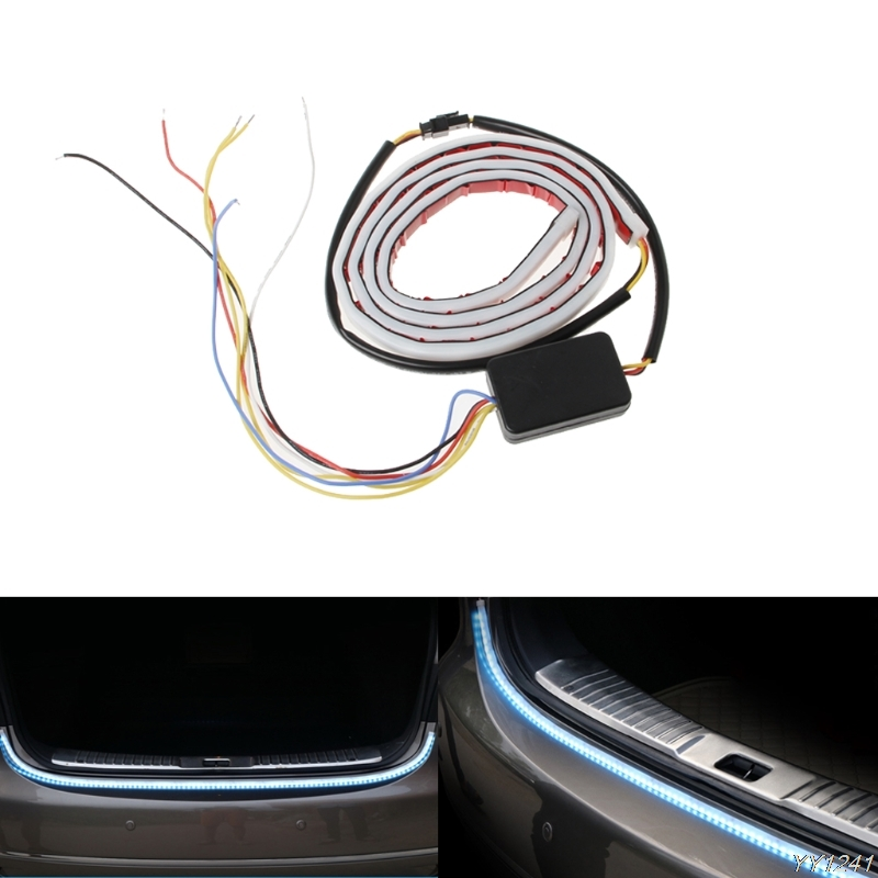 Ice Blue Red Yellow White LED Strip Lighting Rear Trunk Tail Light Dynamic Streamer Brake Turn Signal Reverse Leds Warning Light 2x dual color 42smd 2835 white ice blue