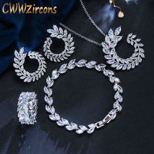 CWWZircons 4 Pcs Leaf Shape New Fashion CZ Necklace Earring Bracelet and Ring Sets Famous Brand Jewelry Womens Accessories T011(China)