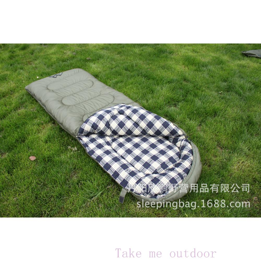 <font><b>On</b></font> sale single person cotton adult autumn spring summer envelope waterproof and damp proof 2 layer outdoor camping sleeping <font><b>bag</b></font>