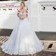 LEIYINXIANG Wedding Gowns Sweetheart Appliques Lace Princess Romatic Dress A-Line Tulle Bride vestido casamento