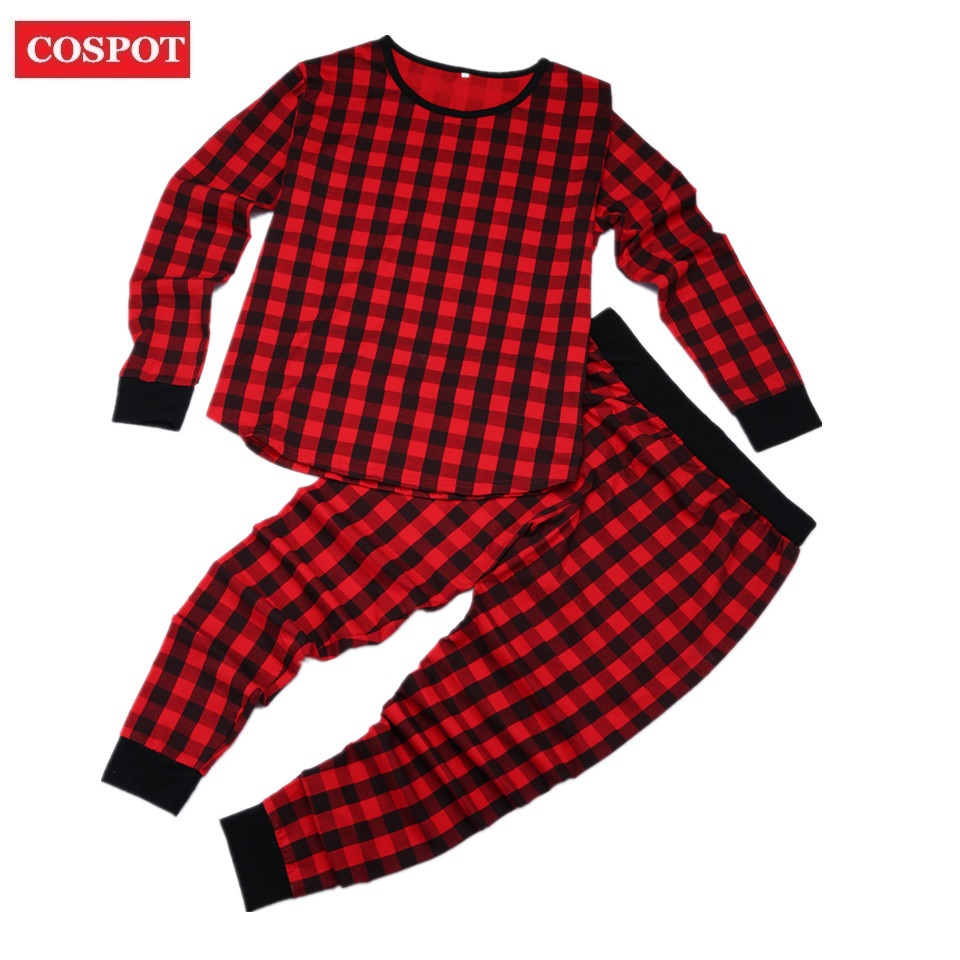 cospot baby girls boys christmas pajamas set newborn red plaid suit kids christmas 2pcs clothing set t shirspants 2018 new d40 in clothing sets from mother