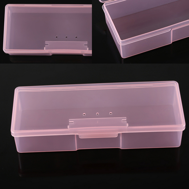 Top Plastic Rectangle Nail Supplies Box Art Decoration Case Rhinestone Studs Holder Glitter Container