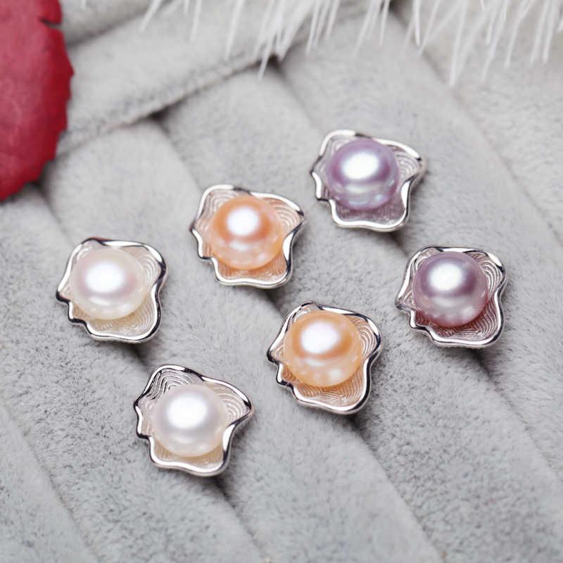 MINTHA Ngọc Trai Nước Ngọt Đồ Trang Sức Thiết Lập 925 Sterling Silver Bạc Ngọc Trai Tự Nhiên Thời Trang Hình Hình Học Thiết Kế Vỏ Bông Tai Vòng Cổ Với Hộp