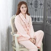 Extra Thick Warm Women Flannel Pajamas Set Warm Padded Winter Womenwith Pocket Pajamas Love Costume Nightgown Sleep Set
