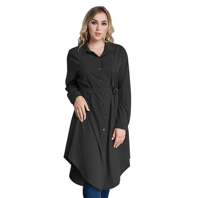 woman Long sleeve button loose shirt dress