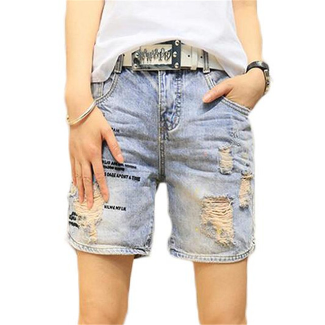 2016 Summer Ripped Shorts Women Jeans Denim Plus Size High Waist Short Casual  Womens Shorts  ZMF789562