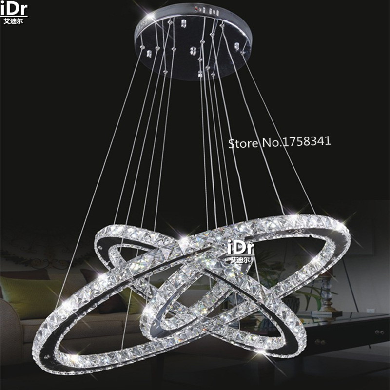 modern Vintage stainless steel 3 Circles crystal lamp living room lobby restaurant bedroom rings 145W LED