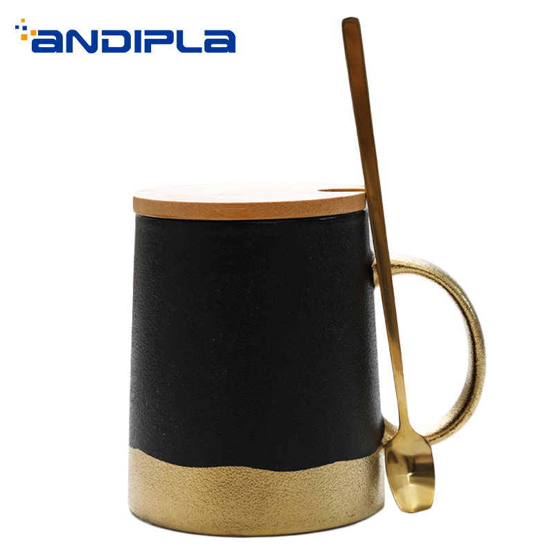 380ml Nordic Style Coffee Cup Ceramic Sand Glaze Gold Milk Mug Office Master Water Mugs Drinkware Teaware Beer World Cups Decor image