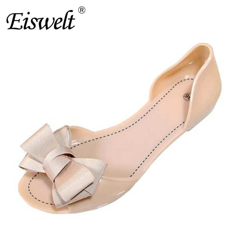 Eiswelt 2017 New Women Sandals Sweet Bowtie Flat Shoes Woman Summer Jelly Shoes 4 Colors Size 35-39#DZW23 women sandals 2016 fashion flat sandals shoes woman summer shoes jelly shoes