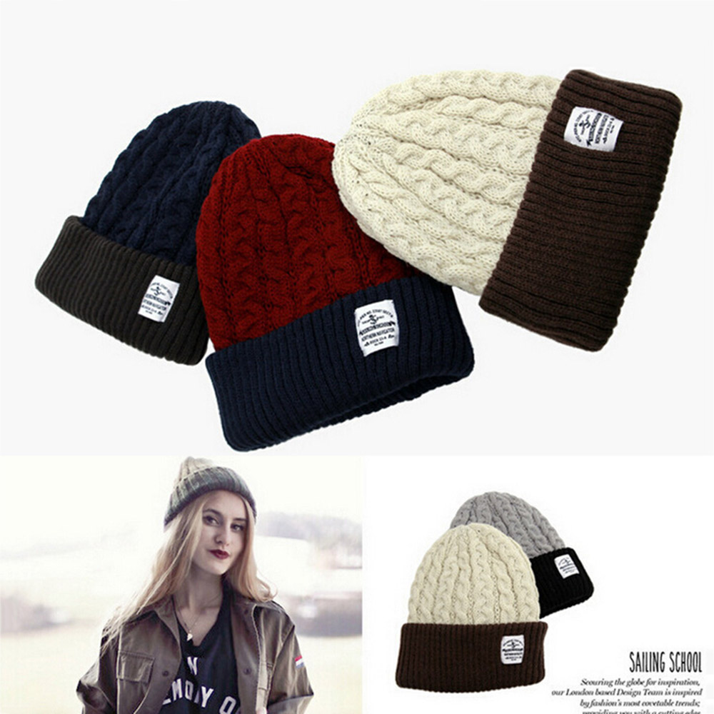 Warm two tone winter Beanie Knitting Wool Hat for Women Man New Arrival Lady Beanie Knitted Cap Womens Hat Outdoor Sport Warm 2017 new wool grey beanie hat for women warm simple style bad hair day knitting winter wooly hats online ds20170123 x24