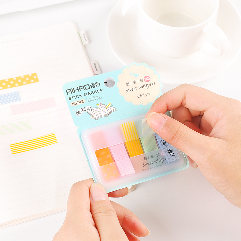1X Cute Sweet Dots $ Stripe Adhesive Memopads Marker Message Sticky Notes Decor Bookmark School Office Supply Student Stationery